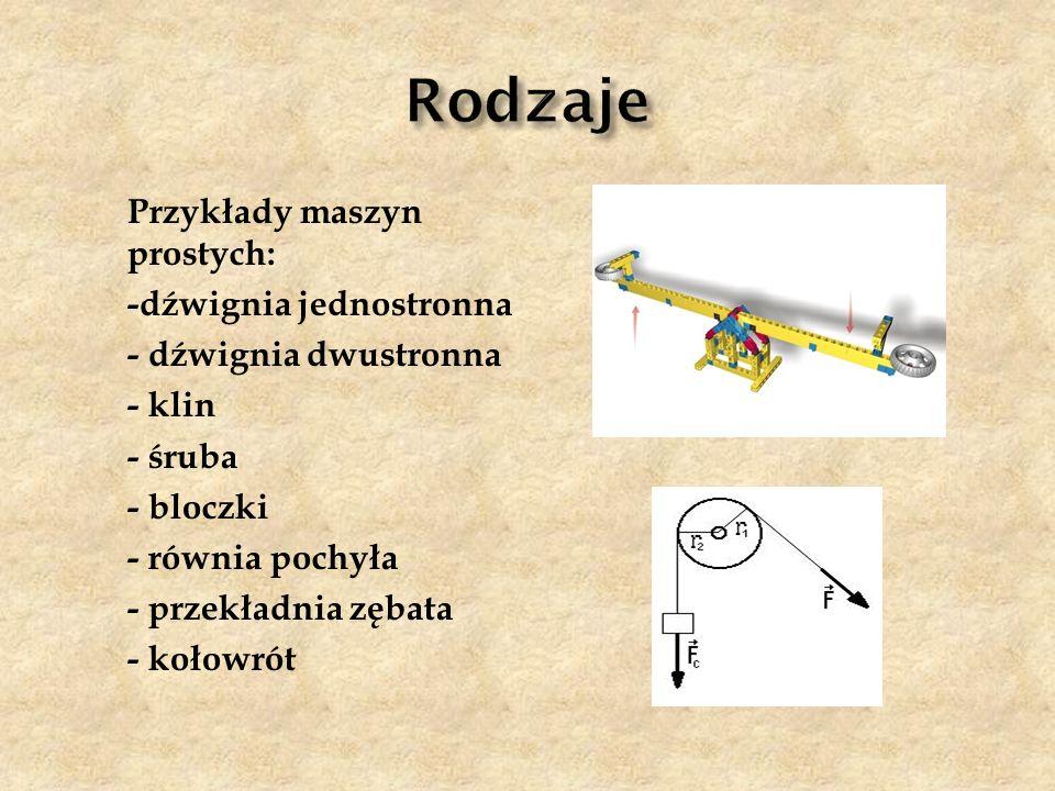 Przykłady maszyn prostych: -dźwignia jednostronna - dźwignia dwustronna - klin - śruba - bloczki - równia pochyła - przekładnia zębata - kołowrót