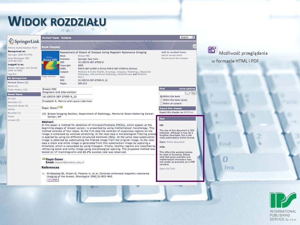 W IDOK ROZDZIAŁU Możliwość przeglądania w formacie HTML i PDF 1
