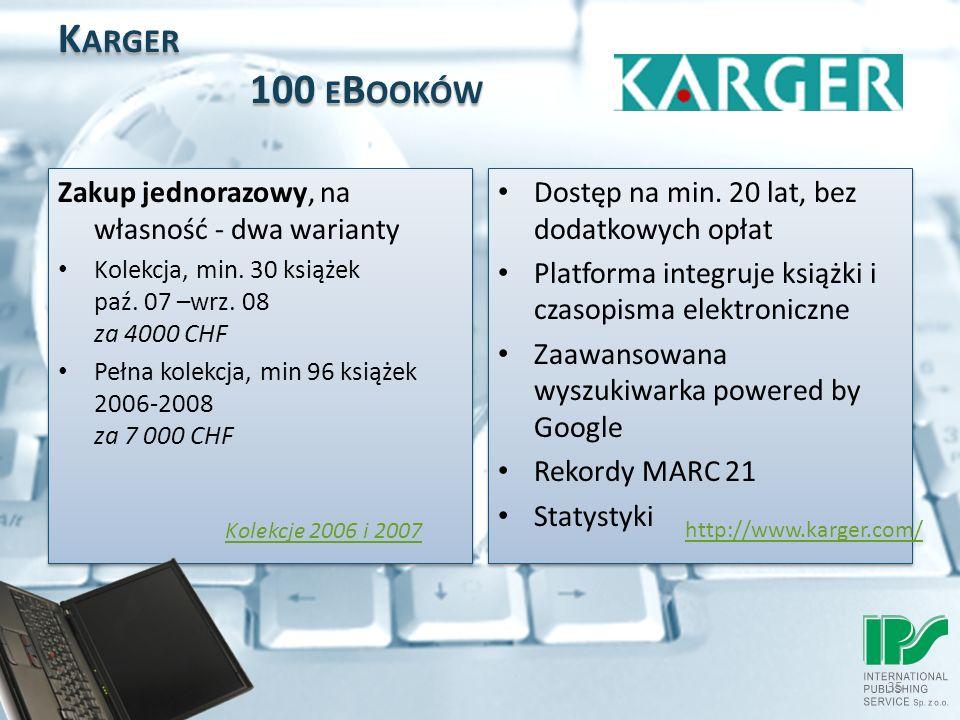 35 K ARGER 100 E B OOKÓW Zakup jednorazowy, na własność - dwa warianty Kolekcja, min.