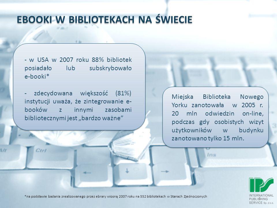 EBOOKI W BIBLIOTEKACH NA ŚWIECIE 4 *na podstawie badania zrealizowanego przez ebrary wiosną 2007 roku na 552 bibliotekach w Stanach Zjednoczonych Miejska Biblioteka Nowego Yorku zanotowała w 2005 r.