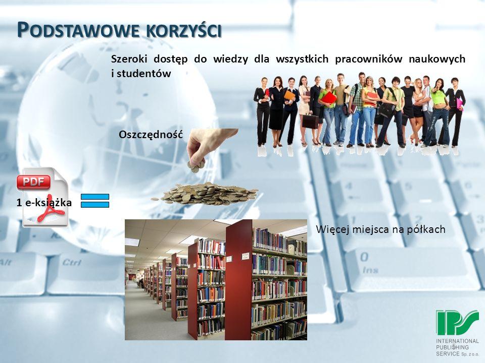 P ODSTAWOWE KORZYŚCI 5 1 e-książka Szeroki dostęp do wiedzy dla wszystkich pracowników naukowych i studentów Oszczędność Więcej miejsca na półkach