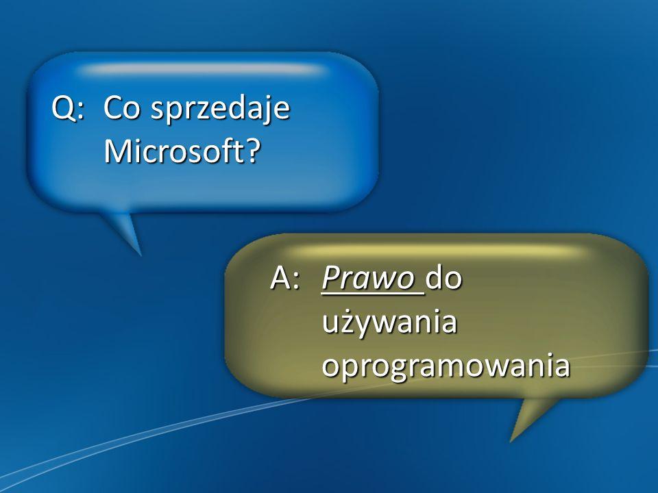 Q: Co sprzedaje Microsoft A: Prawo do używania oprogramowania
