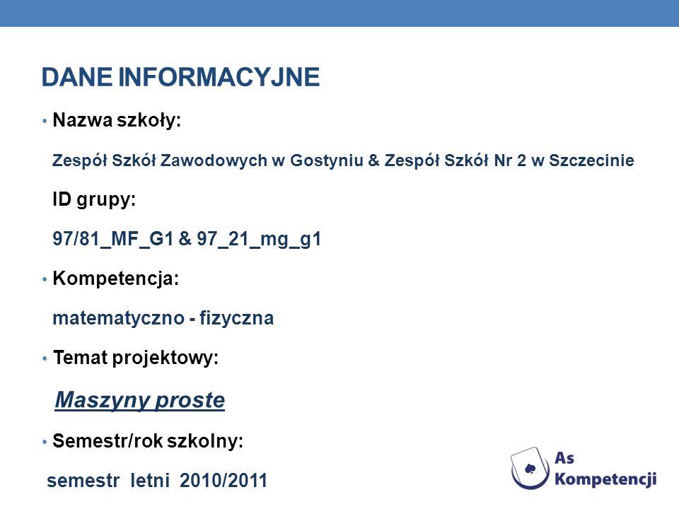 DANE INFORMACYJNE Nazwa szkoły: Zespół Szkół Zawodowych w Gostyniu & Zespół Szkół Nr 2 w Szczecinie ID grupy: 97/81_MF_G1 & 97_21_mg_g1 Kompetencja: m