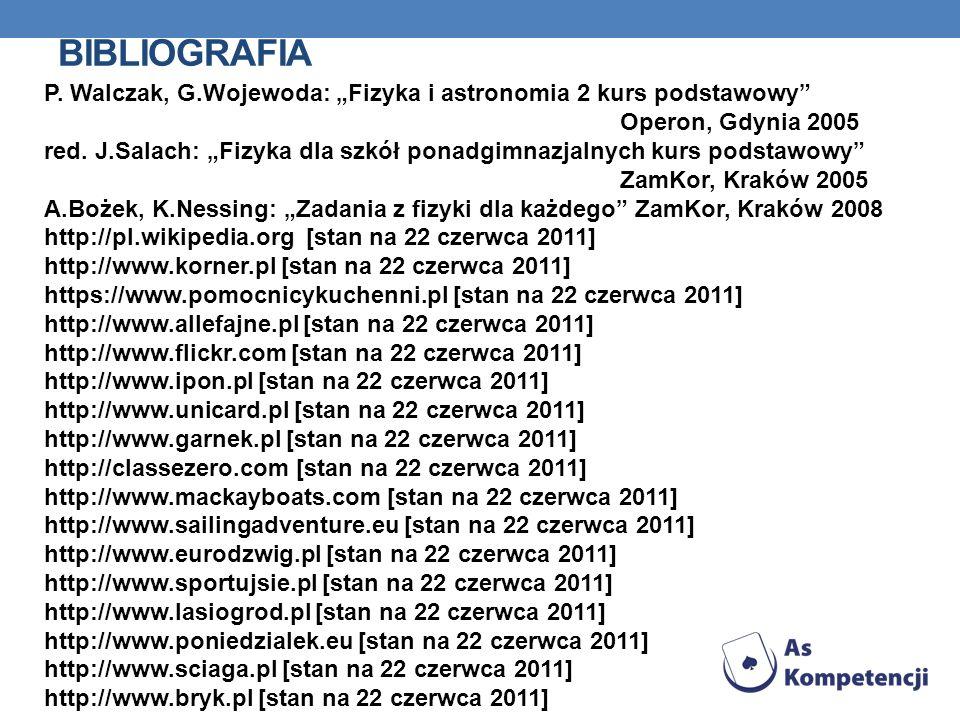 BIBLIOGRAFIA P. Walczak, G.Wojewoda: Fizyka i astronomia 2 kurs podstawowy Operon, Gdynia 2005 red. J.Salach: Fizyka dla szkół ponadgimnazjalnych kurs