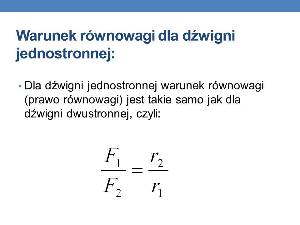 Warunek równowagi dla dźwigni jednostronnej: Dla dźwigni jednostronnej warunek równowagi (prawo równowagi) jest takie samo jak dla dźwigni dwustronnej