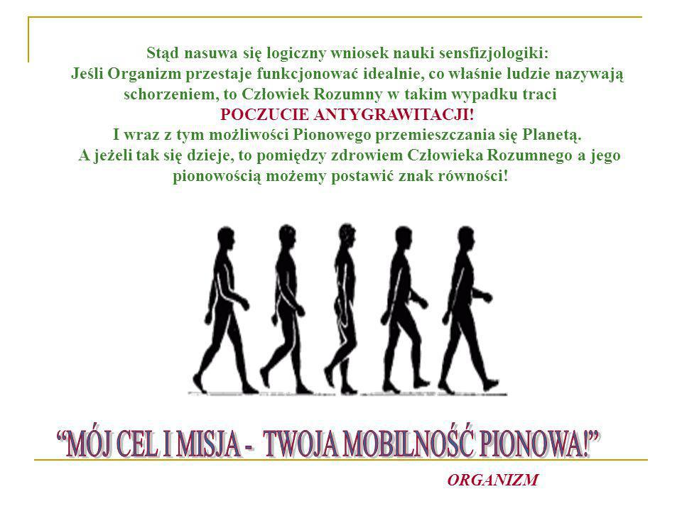 Stąd nasuwa się logiczny wniosek nauki sensfizjologiki: Jeśli Organizm przestaje funkcjonować idealnie, co właśnie ludzie nazywają schorzeniem, to Czł