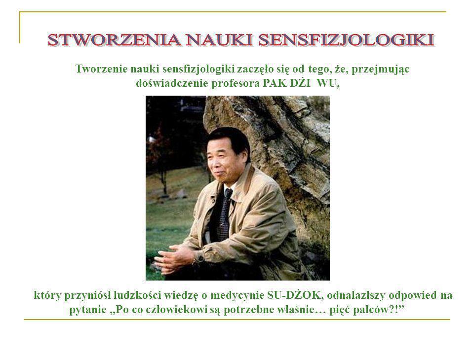Tworzenie nauki sensfizjologiki zaczęło się od tego, że, przejmując doświadczenie profesora PAK DŹI WU, który przyniósł ludzkości wiedzę o medycynie S
