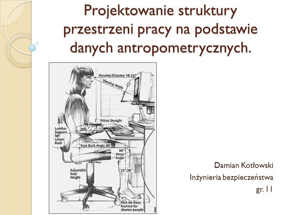 Projektowanie struktury przestrzeni pracy na podstawie danych antropometrycznych. Damian Kotłowski Inżynieria bezpieczeństwa gr. 11