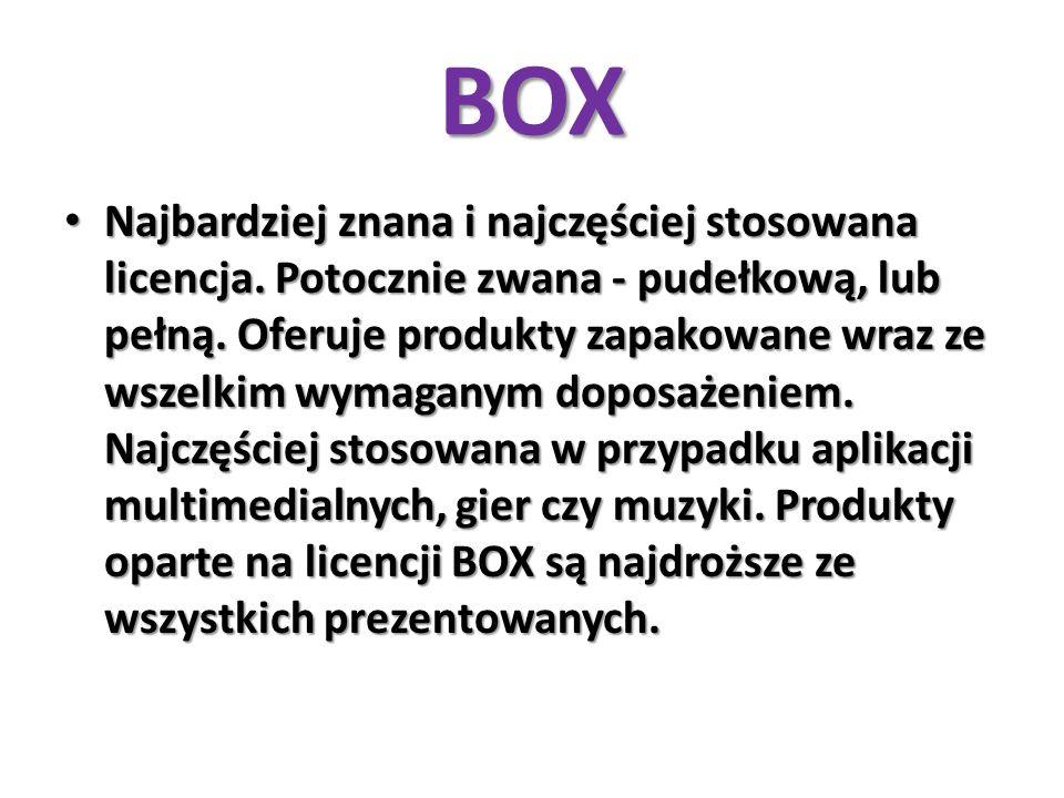 BOX Najbardziej znana i najczęściej stosowana licencja. Potocznie zwana - pudełkową, lub pełną. Oferuje produkty zapakowane wraz ze wszelkim wymaganym