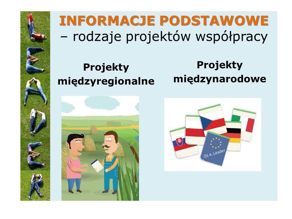INFORMACJE PODSTAWOWE INFORMACJE PODSTAWOWE – rodzaje projektów współpracy Projekty międzyregionalne Projekty międzynarodowe