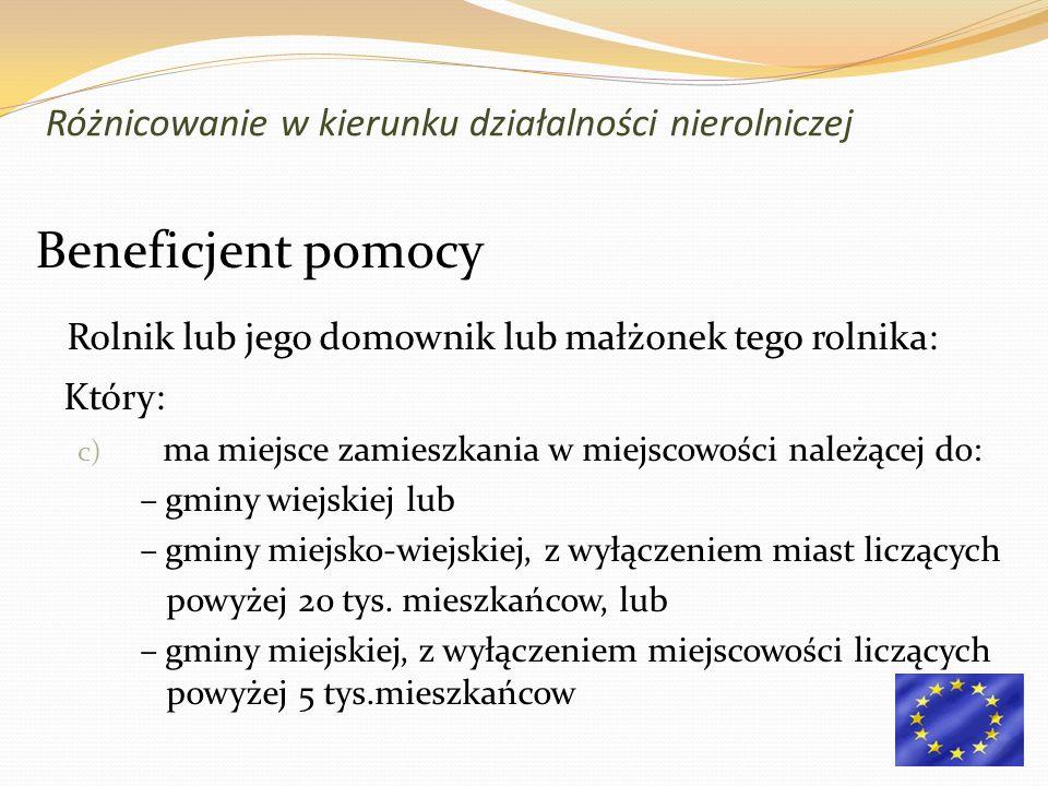 Beneficjent pomocy Rolnik lub jego domownik lub małżonek tego rolnika: Który: c) ma miejsce zamieszkania w miejscowości należącej do: – gminy wiejskiej lub – gminy miejsko-wiejskiej, z wyłączeniem miast liczących powyżej 20 tys.