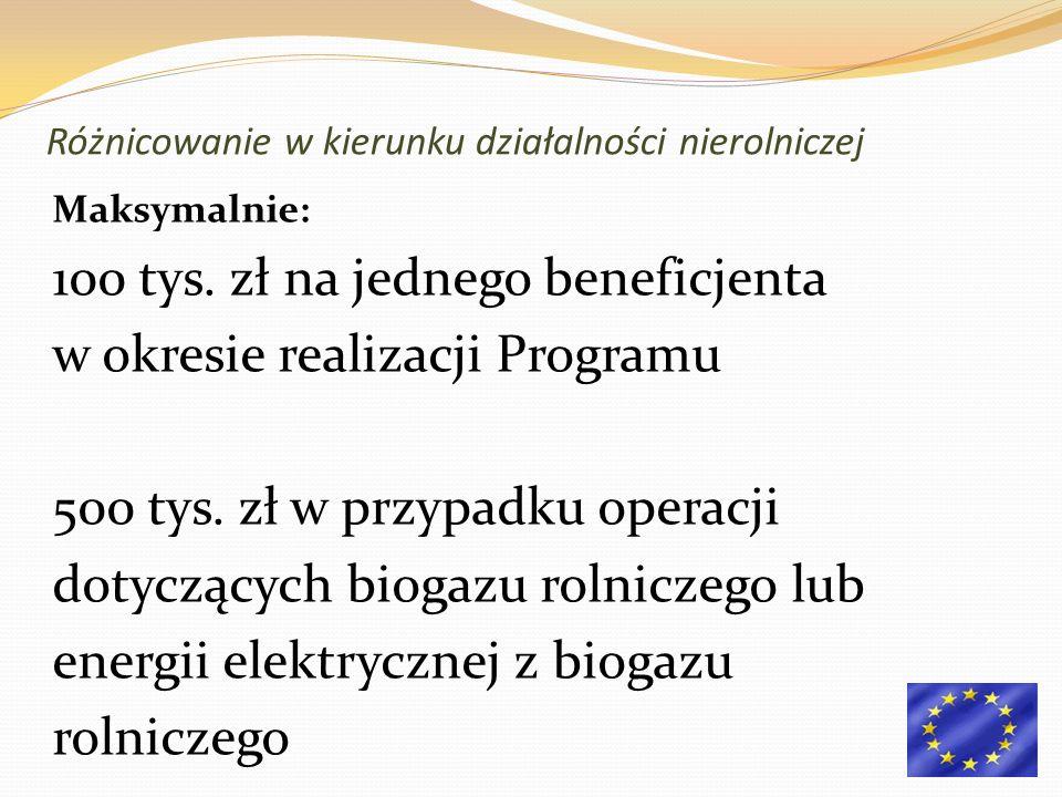 Maksymalnie: 100 tys. zł na jednego beneficjenta w okresie realizacji Programu 500 tys.