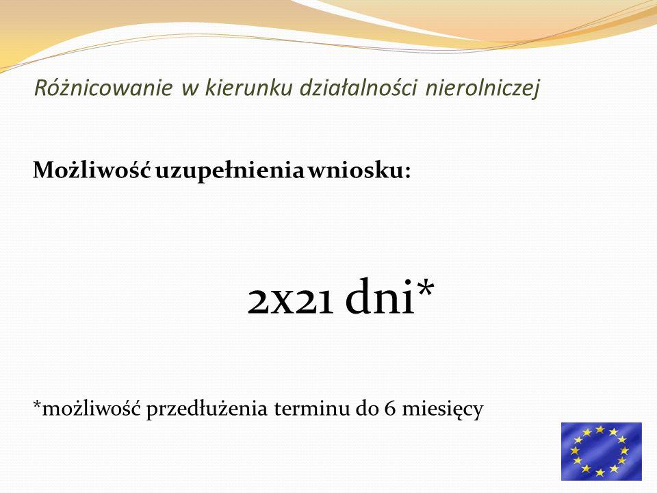 Możliwość uzupełnienia wniosku: 2x21 dni* *możliwość przedłużenia terminu do 6 miesięcy Różnicowanie w kierunku działalności nierolniczej