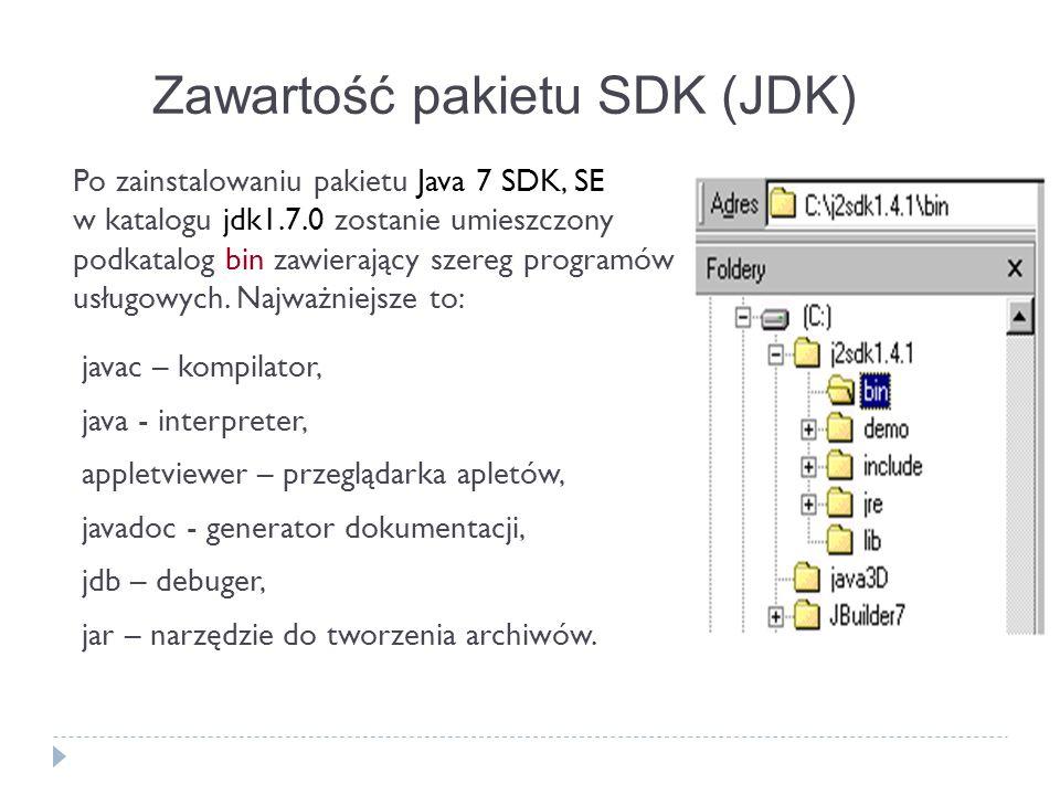 Zawartość pakietu SDK (JDK) javac – kompilator, java - interpreter, appletviewer – przeglądarka apletów, javadoc - generator dokumentacji, jdb – debug