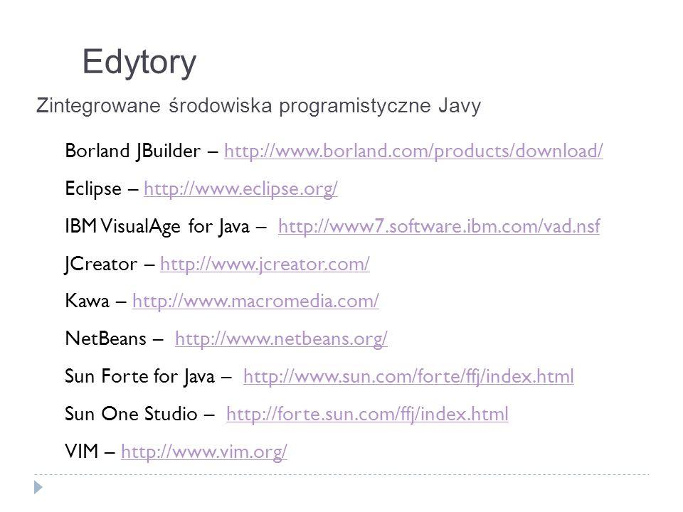 Edytory Zintegrowane środowiska programistyczne Javy Borland JBuilder – http://www.borland.com/products/download/http://www.borland.com/products/downl
