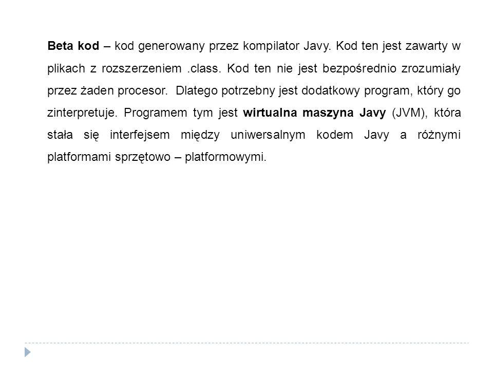 Beta kod – kod generowany przez kompilator Javy. Kod ten jest zawarty w plikach z rozszerzeniem.class. Kod ten nie jest bezpośrednio zrozumiały przez