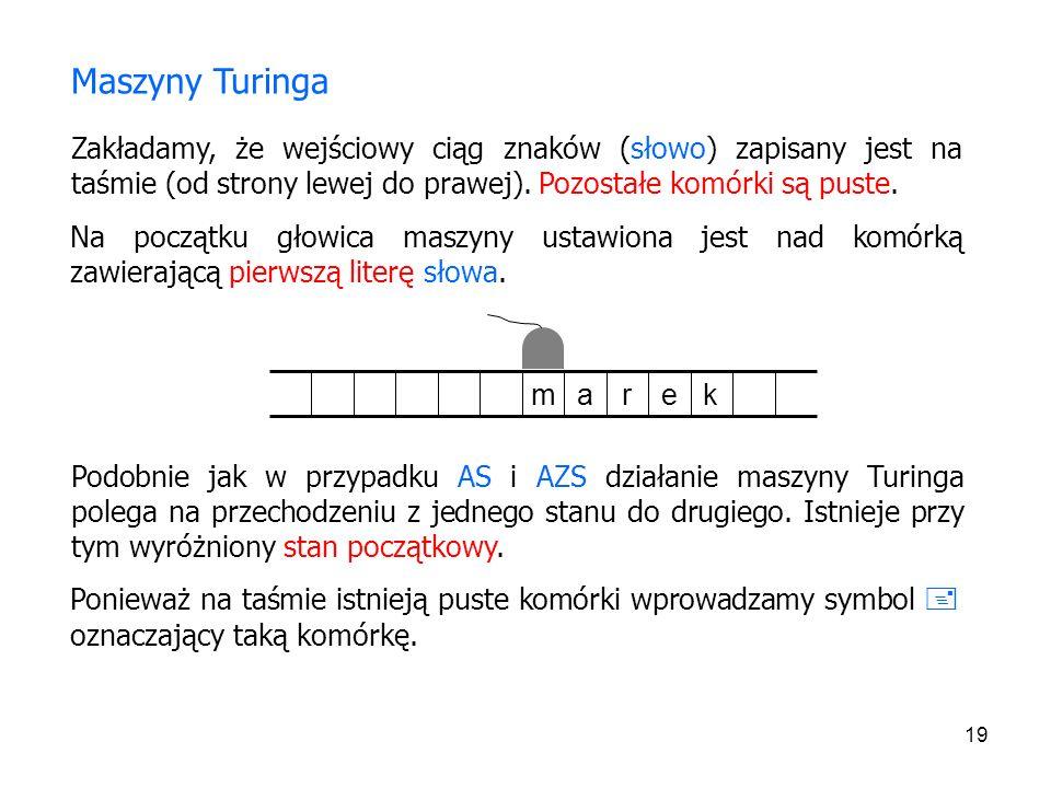 19 Zakładamy, że wejściowy ciąg znaków (słowo) zapisany jest na taśmie (od strony lewej do prawej). Pozostałe komórki są puste. Maszyny Turinga Na poc