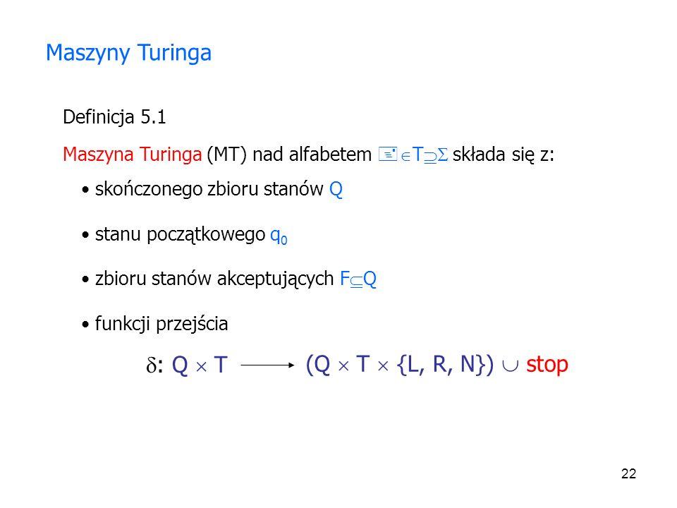 22 Definicja 5.1 Maszyny Turinga Maszyna Turinga (MT) nad alfabetem T składa się z: skończonego zbioru stanów Q stanu początkowego q 0 zbioru stanów a