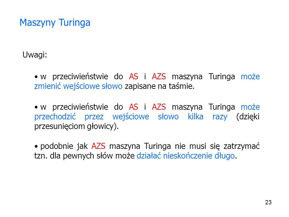 23 Uwagi: Maszyny Turinga w przeciwieństwie do AS i AZS maszyna Turinga może zmienić wejściowe słowo zapisane na taśmie. w przeciwieństwie do AS i AZS