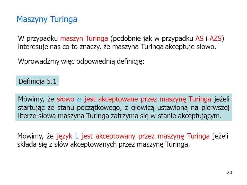 24 Maszyny Turinga W przypadku maszyn Turinga (podobnie jak w przypadku AS i AZS) interesuje nas co to znaczy, że maszyna Turinga akceptuje słowo. Wpr