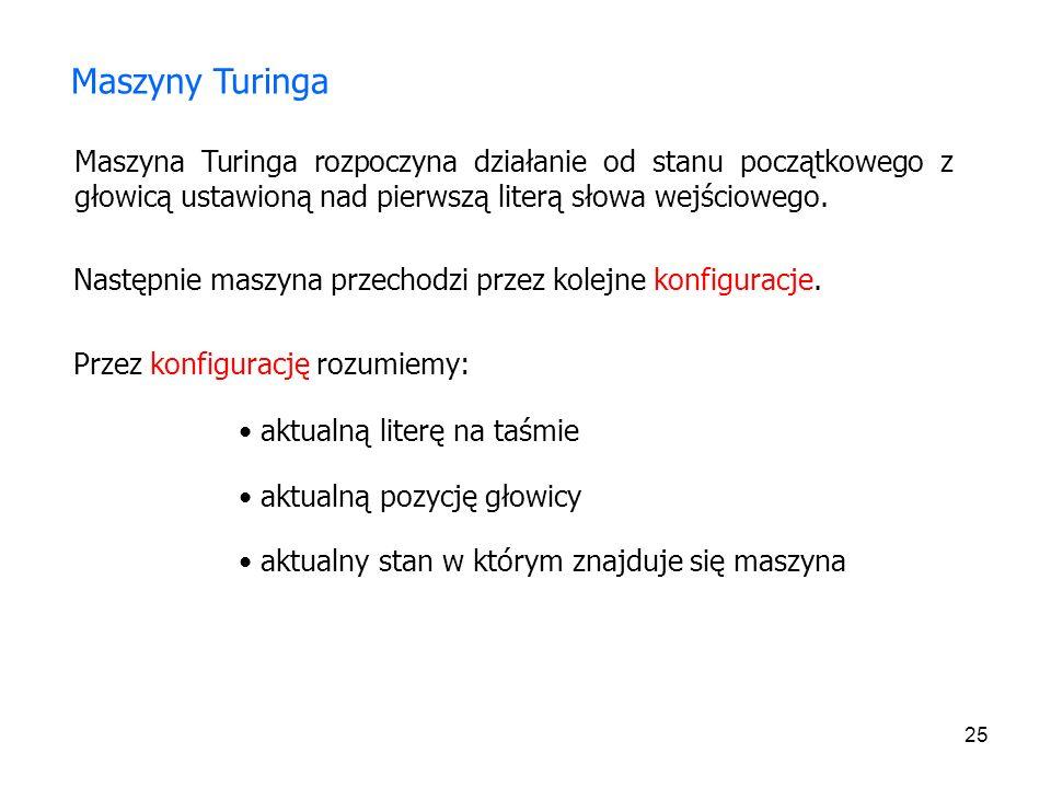 25 Maszyny Turinga Maszyna Turinga rozpoczyna działanie od stanu początkowego z głowicą ustawioną nad pierwszą literą słowa wejściowego. Następnie mas
