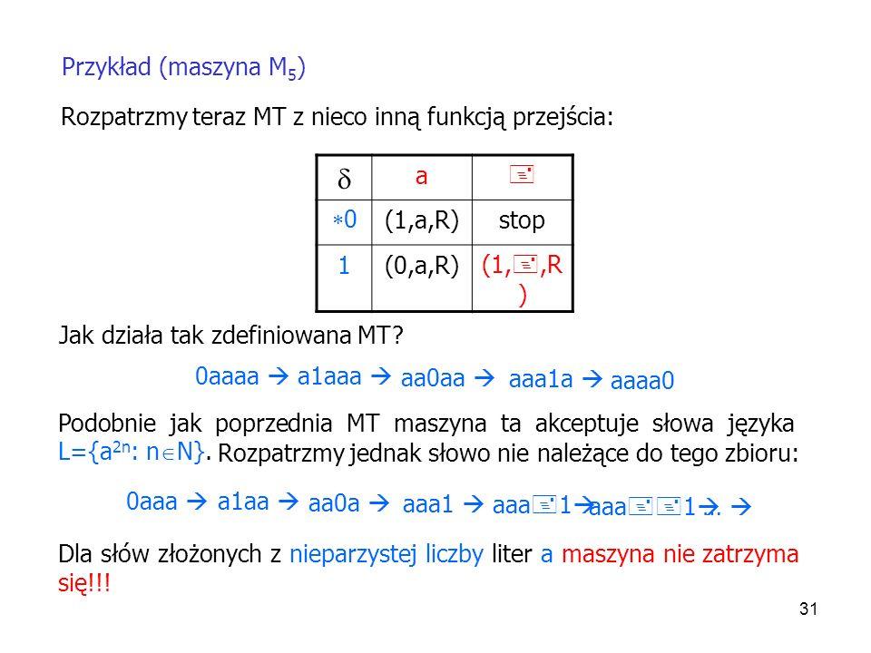 31 Przykład (maszyna M 5 ) a 0 (1,a,R)stop 1(0,a,R)(1,,R ) Jak działa tak zdefiniowana MT? 0aaa a1aa aa0a aaa1 0aaaa a1aaa aa0aa aaa1a Dla słów złożon