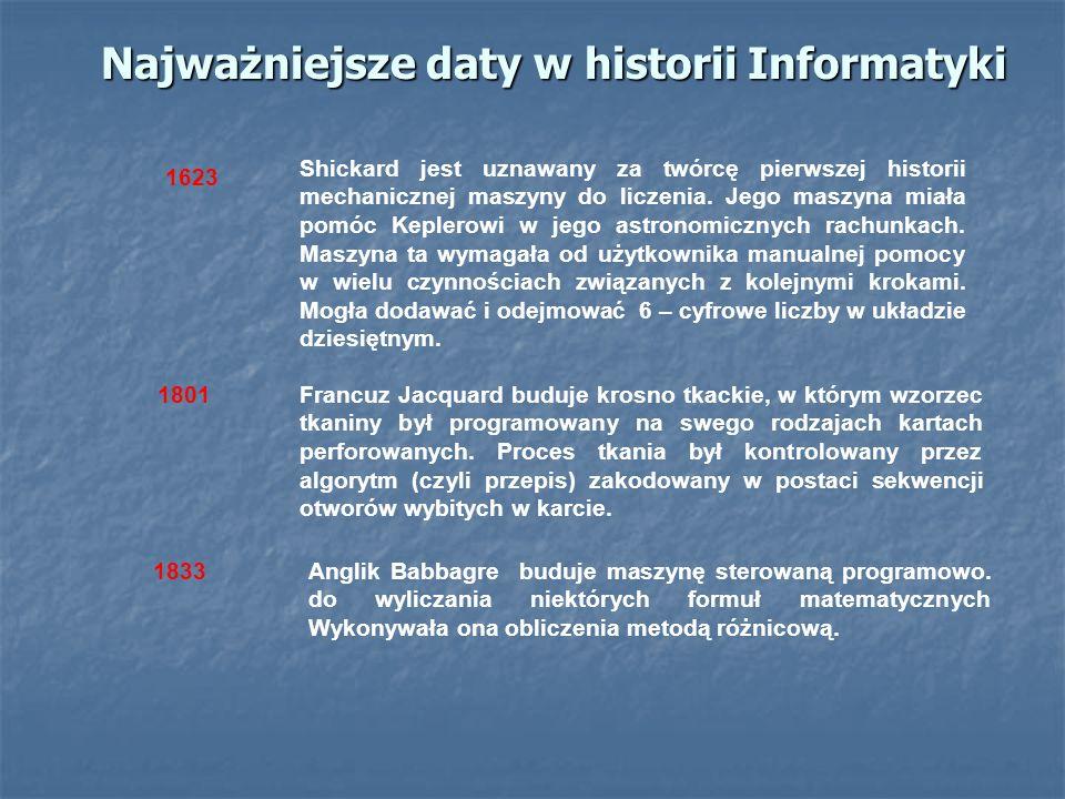 Najważniejsze daty w historii Informatyki Shickard jest uznawany za twórcę pierwszej historii mechanicznej maszyny do liczenia. Jego maszyna miała pom