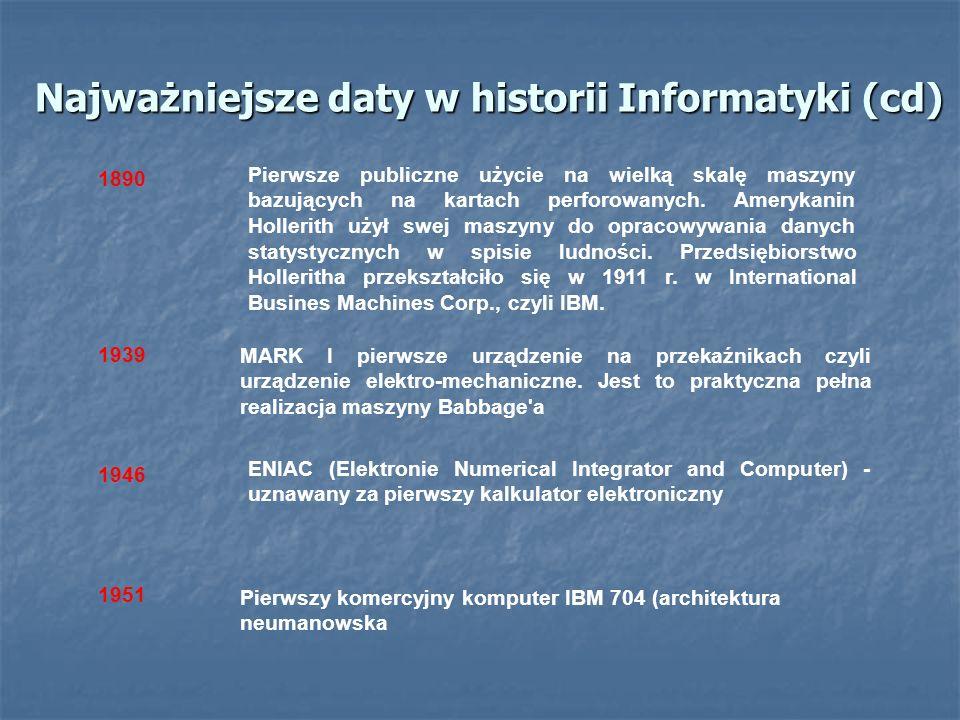 Najważniejsze daty w historii Informatyki (cd) MARK I pierwsze urządzenie na przekaźnikach czyli urządzenie elektro-mechaniczne. Jest to praktyczna pe