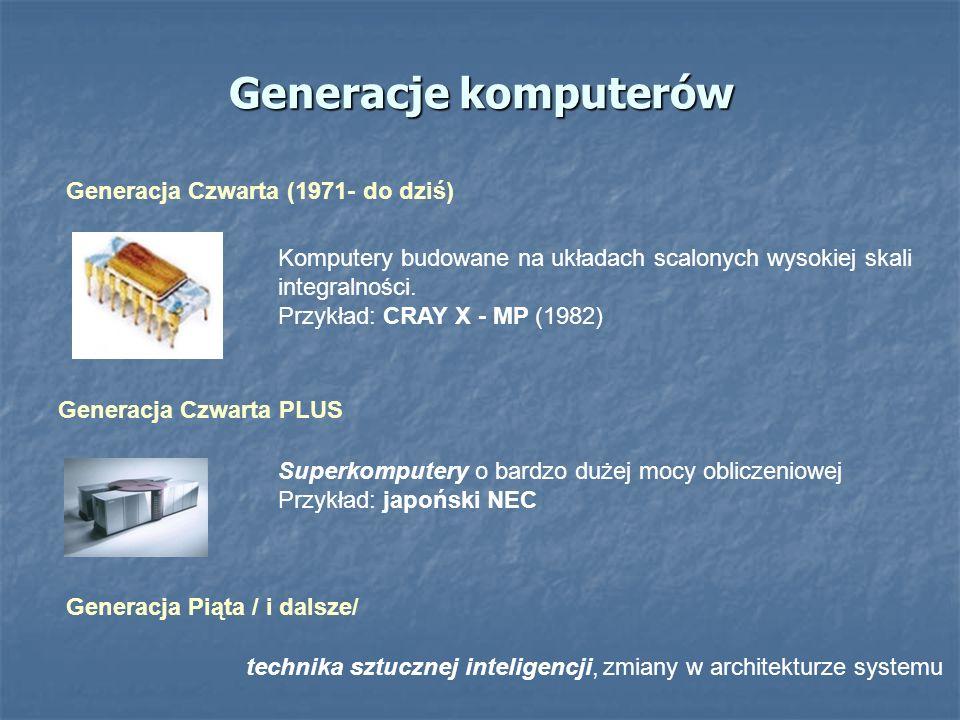 Generacje komputerów Generacja Czwarta (1971- do dziś) Generacja Czwarta PLUS Komputery budowane na układach scalonych wysokiej skali integralności. P
