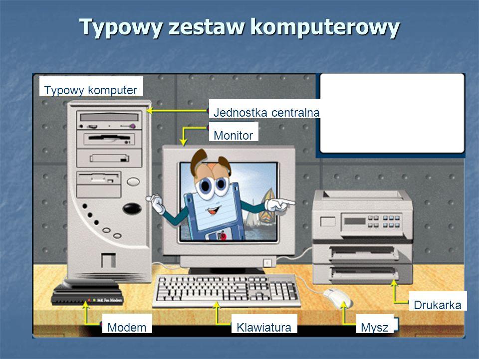 Typowy zestaw komputerowy Modem KlawiaturaMysz Drukarka Jednostka centralna Monitor Typowy komputer