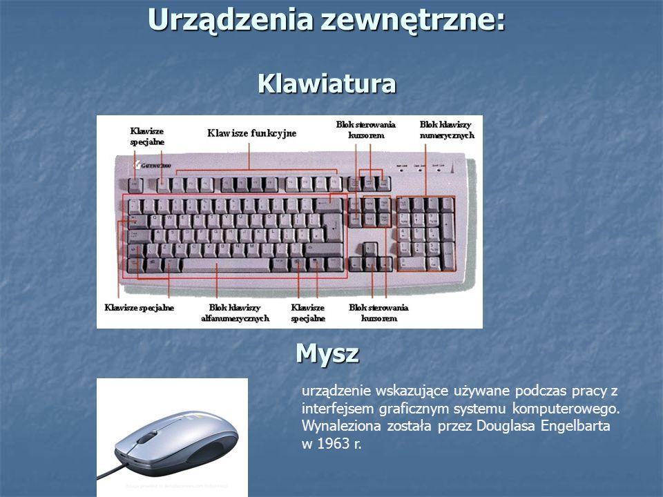 Urządzenia zewnętrzne: Klawiatura Mysz urządzenie wskazujące używane podczas pracy z interfejsem graficznym systemu komputerowego. Wynaleziona została