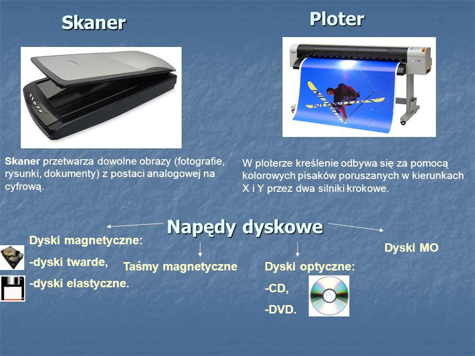 SkanerPloter Skaner przetwarza dowolne obrazy (fotografie, rysunki, dokumenty) z postaci analogowej na cyfrową. W ploterze kreślenie odbywa się za pom