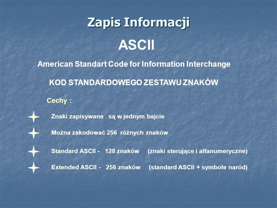 Zapis Informacji ASCII American Standart Code for Information Interchange KOD STANDARDOWEGO ZESTAWU ZNAKÓW Standard ASCII - 128 znaków (znaki sterując