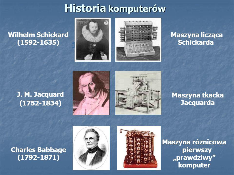 Historia komputerów 1821 Wilhelm Schickard (1592-1635) Maszyna licząca Schickarda Charles Babbage (1792-1871) Maszyna róznicowa pierwszy prawdziwy kom