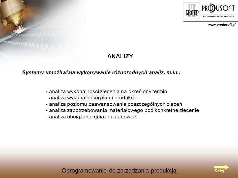 Oprogramowanie do zarządzania produkcją www.produsoft.pl Oprogramowanie do zarządzania produkcją ANALIZY Systemy umożliwiają wykonywanie różnorodnych analiz, m.in.: - analiza wykonalności zlecenia na określony termin - analiza wykonalności planu produkcji - analiza poziomu zaawansowania poszczególnych zleceń - analiza zapotrzebowania materiałowego pod konkretne zlecenie - analiza obciążanie gniazd i stanowisk Dalej www.produsoft.pl