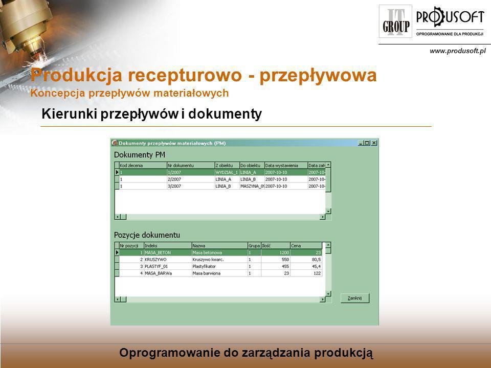 Oprogramowanie do zarządzania produkcją www.produsoft.pl Produkcja recepturowo - przepływowa Koncepcja przepływów materiałowych Wsparcie sprzętowe wagi elektroniczne czytniki kodów kreskowych przepływomierze