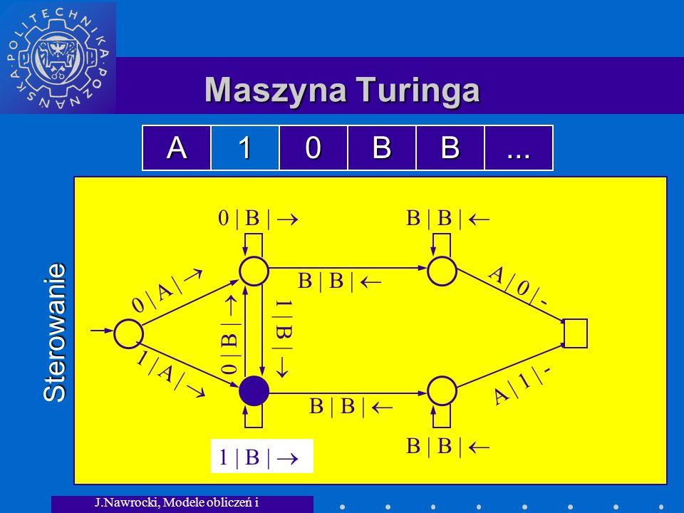 J.Nawrocki, Modele obliczeń i granice... Maszyna Turinga Sterowanie 0 | A | 1 | A | 0 | B | B | B | 1 | B | 0 | B | 1 | B | A | 0 | - A | 1 | - A10BB.