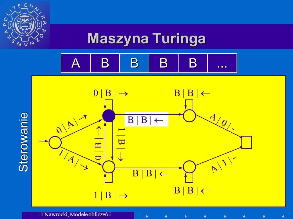 J.Nawrocki, Modele obliczeń i granice... B | B | 0 | B | Maszyna Turinga Sterowanie 0 | A | 1 | A | 0 | B | B | B | 1 | B | A | 0 | - A | 1 | - ABBBB.