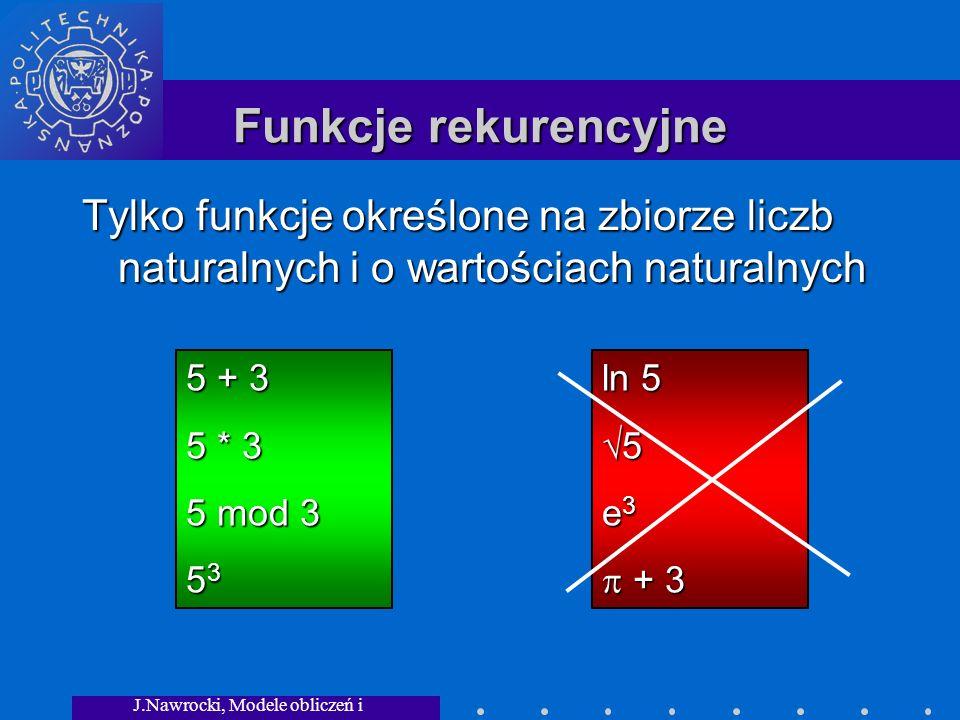 J.Nawrocki, Modele obliczeń i granice... Funkcje rekurencyjne Tylko funkcje określone na zbiorze liczb naturalnych i o wartościach naturalnych 5 + 3 5