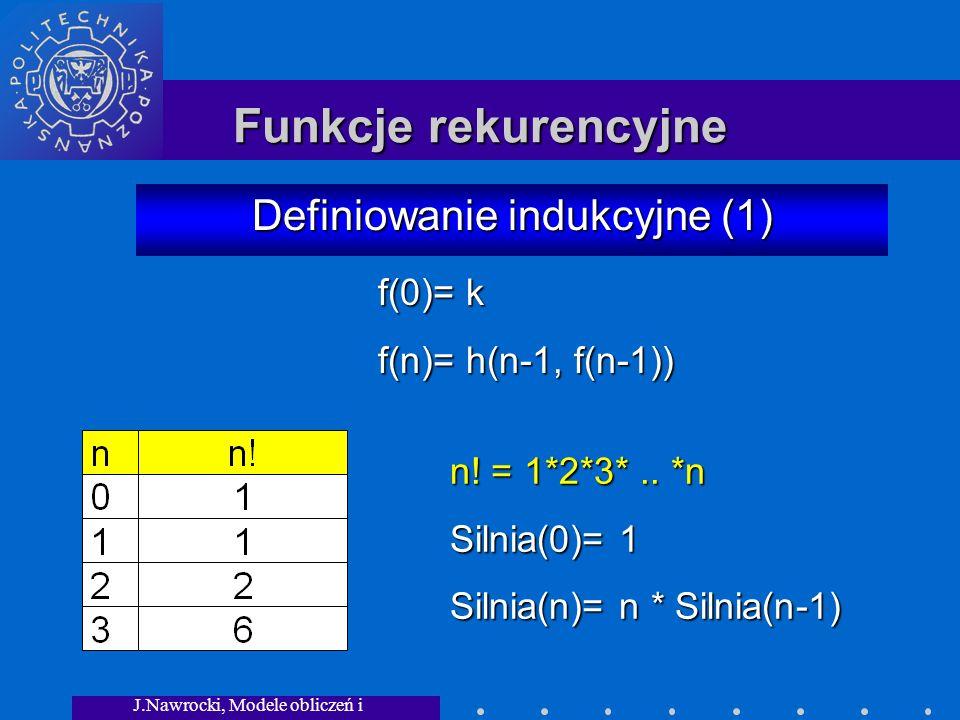 J.Nawrocki, Modele obliczeń i granice... Funkcje rekurencyjne Definiowanie indukcyjne (1) n! = 1*2*3*.. *n Silnia(0)= 1 Silnia(n)= n * Silnia(n-1) f(0
