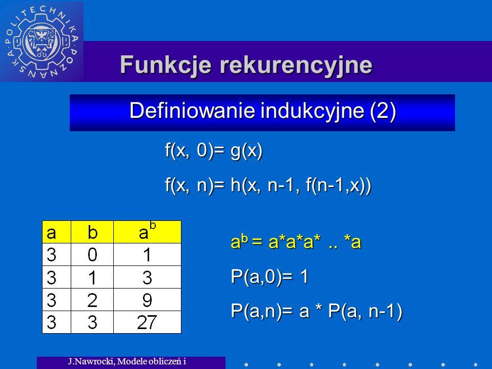 J.Nawrocki, Modele obliczeń i granice... Funkcje rekurencyjne Definiowanie indukcyjne (2) a b = a*a*a*.. *a P(a,0)= 1 P(a,n)= a * P(a, n-1) f(x, 0)= g