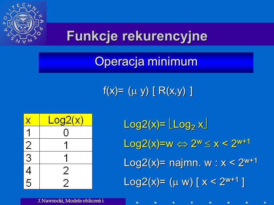 J.Nawrocki, Modele obliczeń i granice... Funkcje rekurencyjne Operacja minimum Log2(x)= Log 2 x Log2(x)= Log 2 x Log2(x)=w 2 w x < 2 w+1 Log2(x)= najm