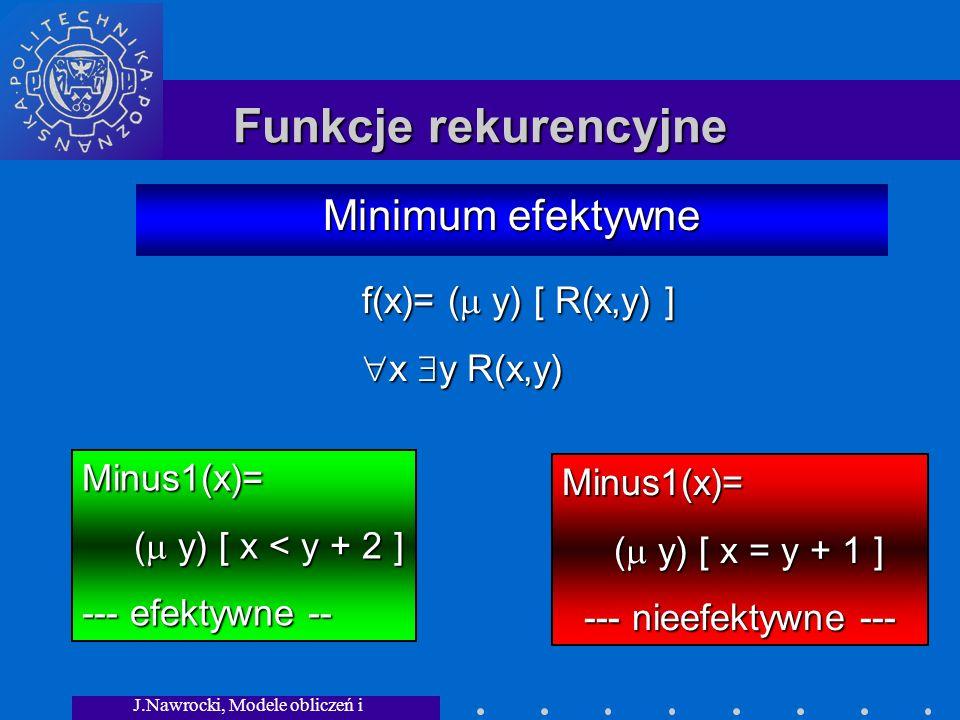 J.Nawrocki, Modele obliczeń i granice... Funkcje rekurencyjne Minimum efektywne Minus1(x)= ( y) [ x < y + 2 ] ( y) [ x < y + 2 ] --- efektywne -- f(x)