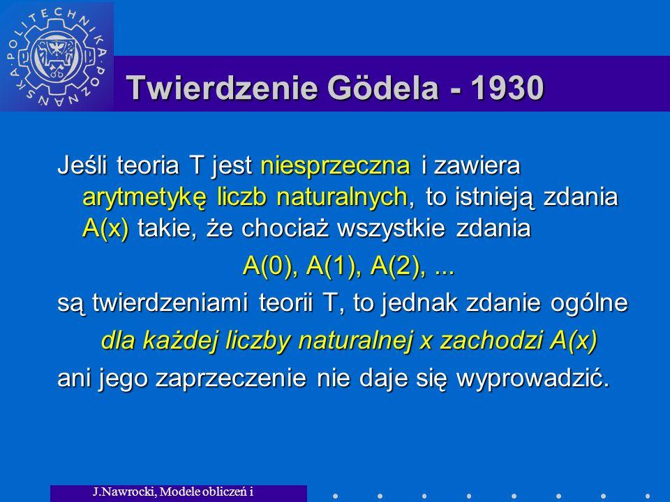 J.Nawrocki, Modele obliczeń i granice... Twierdzenie Gödela - 1930 Jeśli teoria T jest niesprzeczna i zawiera arytmetykę liczb naturalnych, to istniej