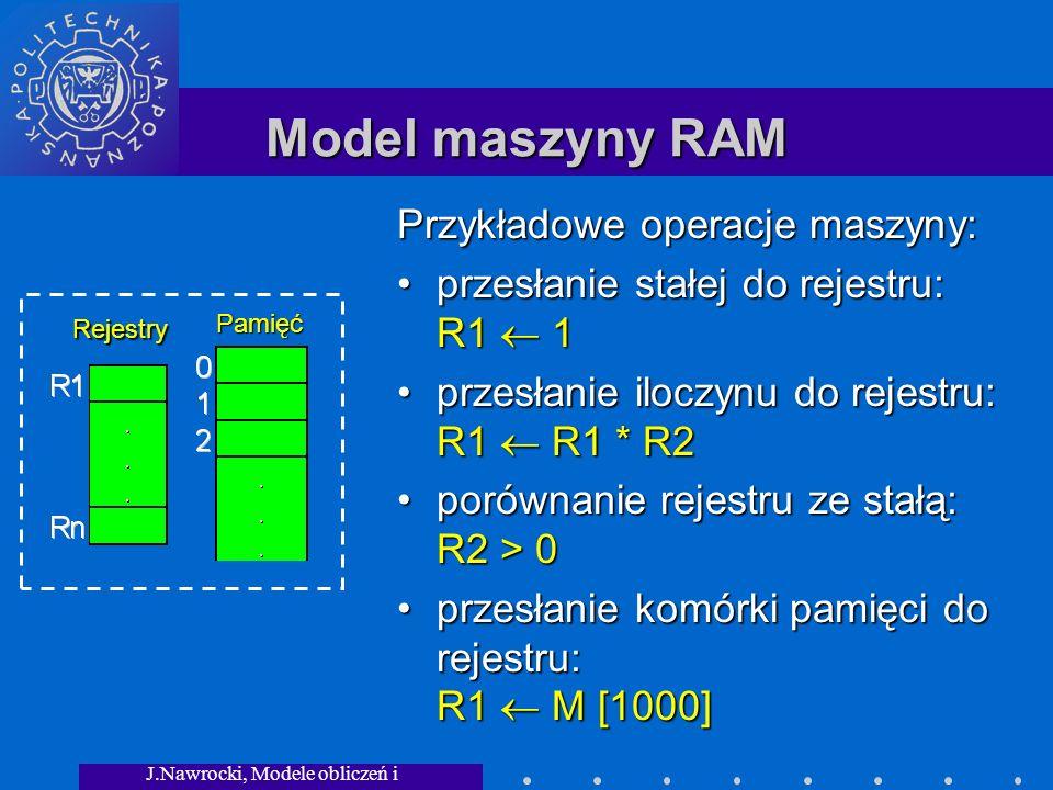 J.Nawrocki, Modele obliczeń i granice... Model maszyny RAM Rejestry Pamięć Przykładowe operacje maszyny: przesłanie stałej do rejestru: R1 1przesłanie