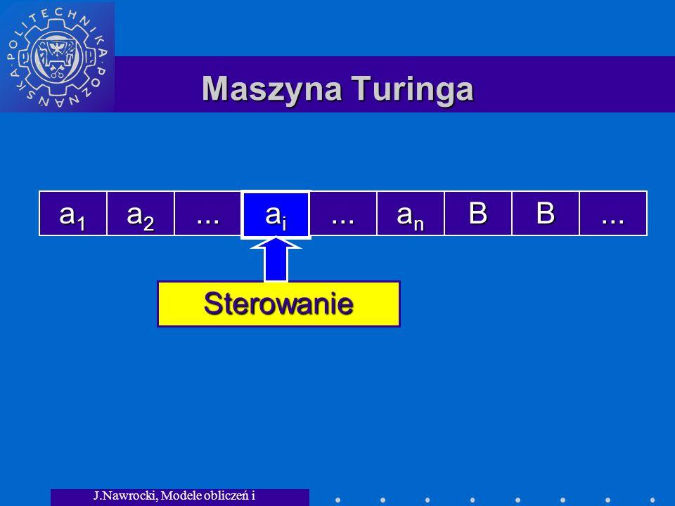 J.Nawrocki, Modele obliczeń i granice... Maszyna Turinga a1a1a1a1 a2a2a2a2... aiaiaiai... ananananBB... Sterowanie