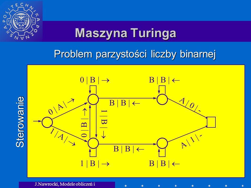 J.Nawrocki, Modele obliczeń i granice... Maszyna Turinga Sterowanie Problem parzystości liczby binarnej 0 | A | 1 | A | 0 | B | B | B | 1 | B | 0 | B