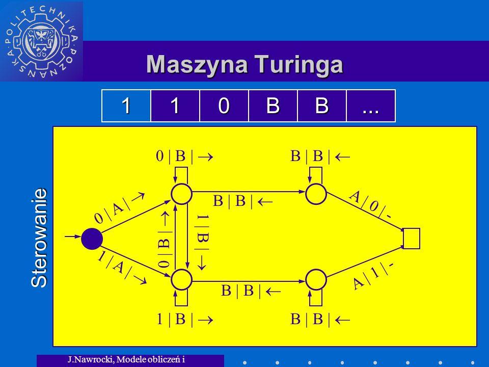 J.Nawrocki, Modele obliczeń i granice... Maszyna Turinga Sterowanie 0 | A | 1 | A | 0 | B | B | B | 1 | B | 0 | B | 1 | B | A | 0 | - A | 1 | - 110BB.