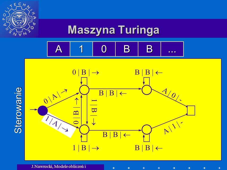 J.Nawrocki, Modele obliczeń i granice... 1 | A | Maszyna Turinga Sterowanie 0 | A | 0 | B | B | B | 1 | B | 0 | B | 1 | B | A | 0 | - A | 1 | - A10BB.
