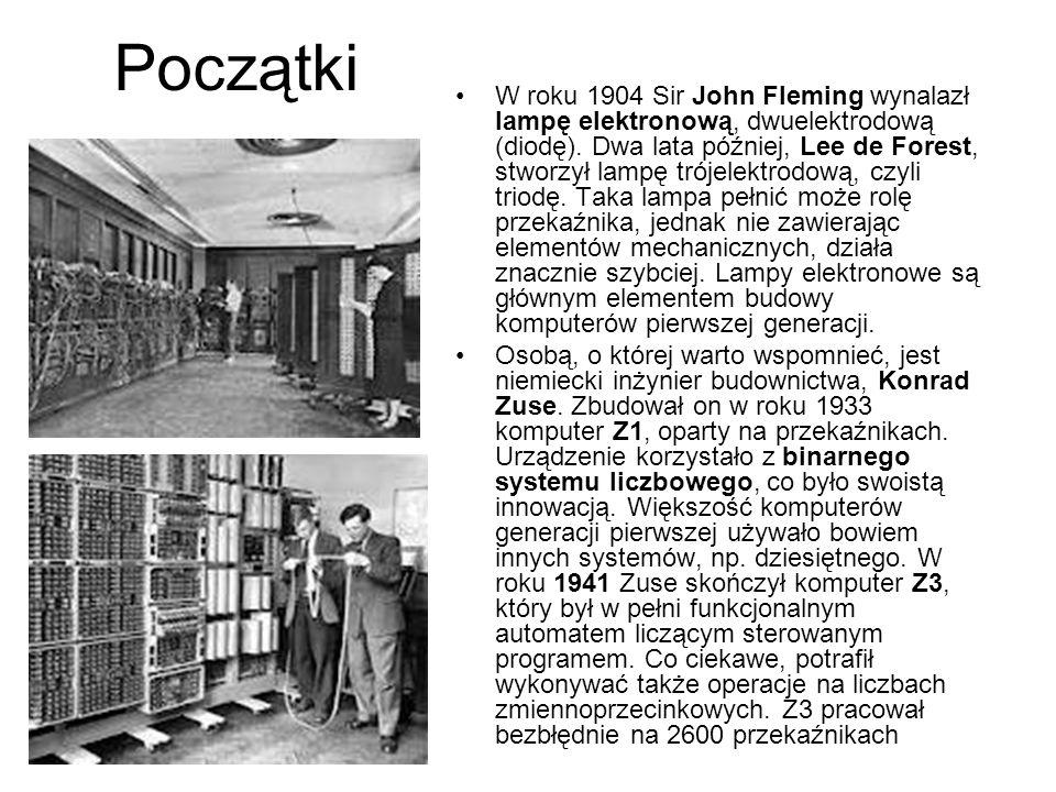 Początki W roku 1904 Sir John Fleming wynalazł lampę elektronową, dwuelektrodową (diodę).
